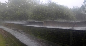 Rain falling on the ruins in the Parakramabahu Palace complex.