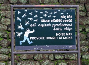 Sign warning visitors about the resident hornets in the boulder garden.