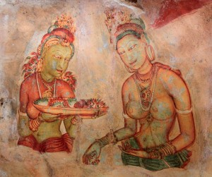 "Paintings found on the side of Sigiriya (""Lion's Rock"")."