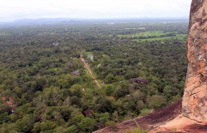 Looking down at the path to Sigiriya and the water garden.