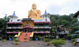 The Golden Temple and freakish entrance to the Buddha museum at the Dambulla Cave Temple complex.