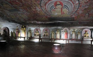 Inside of Dambulla Cave Temple.