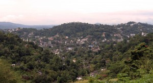 View of Kandy nestled between the hills.