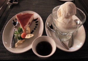 Date cheesecake, frankincense ice cream, and Omani coffee.