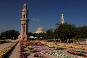 Flower garden in front of Sultan Qaboos Grand Mosque.