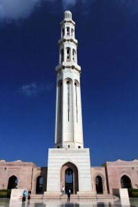 The main minaret at the Sultan Qaboos Grand Mosque.