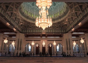 Inside the Prayer hall in the Sultan Qaboos Grand Mosque with a 14-meter tall chandelier.