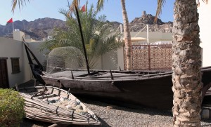 Fishing boats with a mesh fish trap on display at the Bait Al Zubair museum.