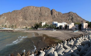 The Gulf of Oman striking a beach in Old Muscat.