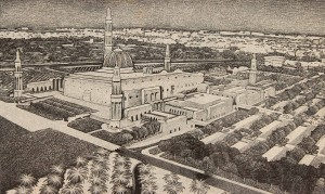 Aerial image of the Sultan Qaboos Grand Mosque (found on the wall of the corniche).