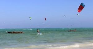 A kite surfer.