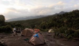Machame Camp just after a rain storm.