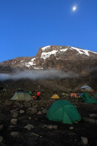 Barranco Camp at night with Kibo in the background.