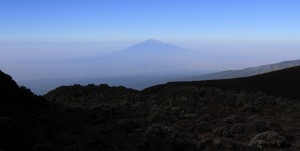Mount Meru seen in the distance.