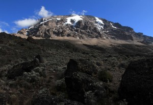 Another view of Kibo seen on the trail from Barranco Camp to Barafu Camp.