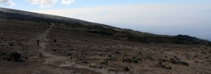 Eroded streaks on the side of Mount Kilimanjaro.