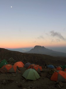 Barafu Camp at night with Mawenzi peak in the distance (the second tallest volcanic cone on Kilimanjaro).
