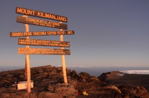 Uhuru peak (5895 meters) on Mount Kilimanjaro, Africa's highest point.