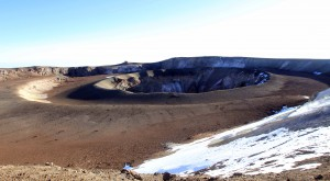 Looking at the inner ash pit of Kibo, seen from the rim of Reusch Crater.