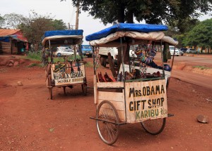 Mr. and Mrs. Obama gift shops found on the road to the Serengeti.