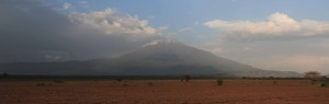 Mount Meru seen from the road to Arusha.