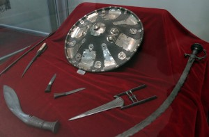 Weapons of Emperor Tewodros (1855-1868), with a shield made out of elephant hide in the center.