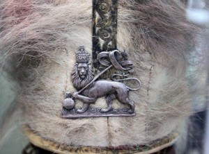 "Closeup of the ceremonial hat of ""Ligaba"" (""Minister of the Palace"")."