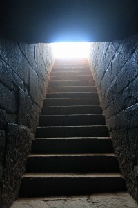 Looking up at the entrance stairs inside Kaleb's tomb.