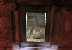 The stone sarcophagi inside Kaleb's tomb.