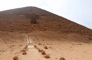 Entrance to the Red Pyramid, constructed by Pharaoh Sneferu during the Fourth Dynasty.