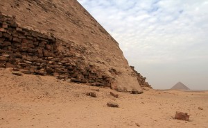 The Red Pyramid seen in the distance from the Bent Pyramid.
