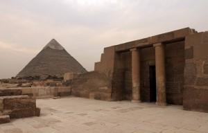 Pyramid of Khafre seen from a nearby mastaba.