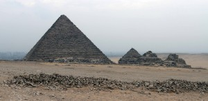 Pyramid of Menkaure with the three Queen's Pyramids.