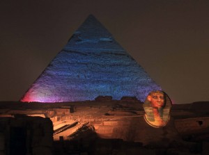 The Sphinx lit up to look like a Pharaoh.