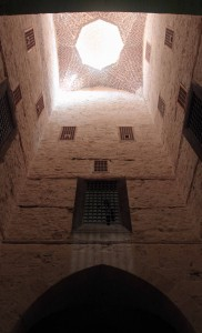 Looking up at the roof in the main tower of Qaitbay.