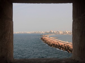 Looking out at the Eastern Harbor entrance from Qaitbay Citadel.