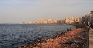 The corniche on the Eastern Harbor in Alexandria.