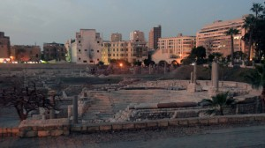 The Roman Theater in Alexandria at dusk.