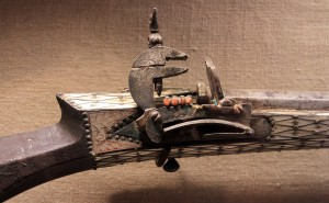 Closeup of a flintlock rifle from the Ottoman era.