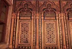 Ornate panels inside the mosque.