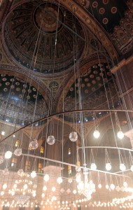 Another view of the ceiling and lights inside the Mosque of Mohammed Ali.