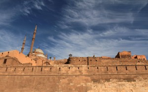 Looking up at the Citadel and the Mosque of Mohammed Ali.