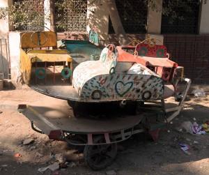 A simple children's ride fallen in to disrepair.