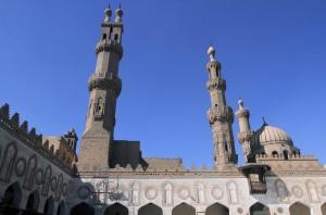 Inside the courtyard of Al-Azhar Mosque.