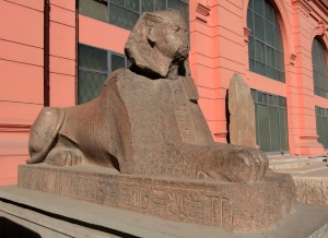 Sphinx statue in front of the Egyptian Museum.