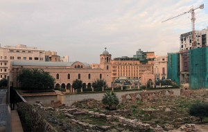 The St. George Greek Orthodox Church with Roman ruins in the foreground.