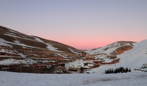 Sunset over Mzaar Ski Resort.
