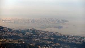 Closeup of Beirut, seen from Mount Mzaar.