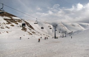 "Skiers having fun on the ""Baby"" slope at Mzaar Ski Resort."