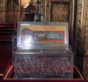 The reliquary box containing several of St. Lazarus' bones (the same Lazarus that Christ resurrected - he fled to Cyprus to avoid persecution).